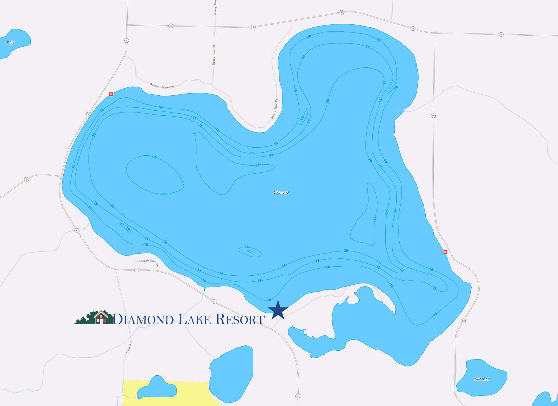 Diamond lake Map - Near Spicer, MN